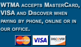 WTMA accepts MasterCard, VISA and Discover when paying by phone, online or in our office.